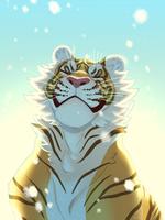 Фото Довольный тигр под падающим снегом, by CrookedLynx