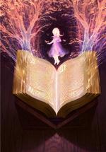 Фото Девочка парит над магической книгой