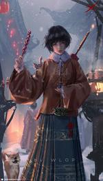 Фото Девушка с зонтиком за спиной, бурундуком на руке, в которой держит еду, by WLOP