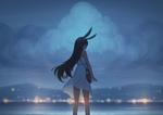 Фото Девочка с крольичьими ушками стоит на фоне моря, аnime Mаdchen