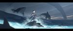 Фото Скади - инеистая великанша, покровительница охоты стоит на камне в окружении дельфинов над волнами