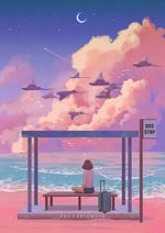 Фото Девочка сидит на лавочке, на автобусной остановке, на фоне облачного неба, где летят скаты над морем, by Karmen Loh