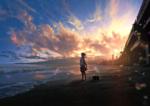 Фото Девочка в мотросской форме стоит у моря