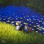 Фото Девочка сидит с мальчиком, который держит в руке удочку, художник Dima Dmitriev / Дима Дмитриев