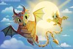 Фото Два летающих дракона-змея на фоне солнца на небе, by Cryptid-Creations