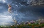 Фото Девушка с букетом цветов шагает по земле. Фотограф Igor Zenin