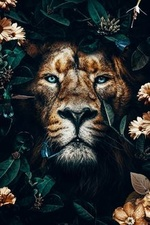 Фото Морда льва в окружении цветов