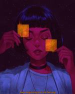 Фото Девушка с закрытыми глазами держит перед собой в руках квадратики, by AngelGanev