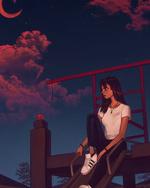 Фото Девушка сидит на горке на фоне облачного неба с луной, by AngelGanev