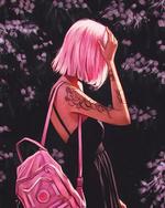 Фото Девушка с розовыми волосами, с тату на руке и сумкой на плече, by AngelGanev