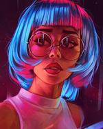 Фото Девушка в очках с голубыми волосами, by AngelGanev