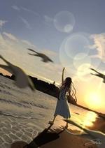 Фото Девочка стоит на побережье, подняв вверх руку