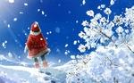 Фото Девочка в красной шапочке и красной шубке стоит на снегу