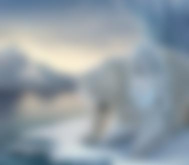 Фото Белокурая девушка сидит на снегу рядом с белым медведем, by yangqi