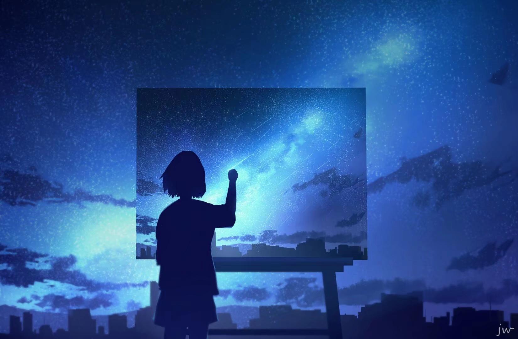 Фото Девочка рисует город под ночным небом, by JW