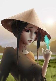 Девушка в треуголке с птичкой на руке, by Zarory