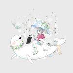 Фото Девочка под зонтом сидит на тюлене и пингвин дарит ей цветок