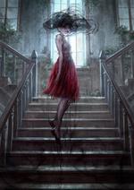 Фото Мертвая темноволосая девушка, от которой идет черный дым, парит над лестницей, арт по книге Anna Dressed in Blood / Анна, одетая в кровь, by COLA