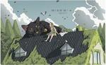 Фото Девочка и огромный черный кот на крыше дома, Whos on our roof, by Xi Zhang