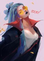 Фото Девушка с голубыми волосами в очках, (1000), by rossdraws