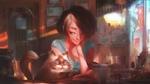Фото Девочка сидит за столом вместе с кошкой, by ArtfulBeast