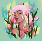 Фото Портрет девушки в окружении розовых тюльпанов, by MirageMari