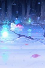 Фото Парень с девушкой на руках стоит в воде в ночном лесу, by Tamaki