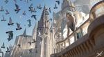 Фото Принцесса - эльфийка стоит на балконе на фоне замка и смотрит на парящих птиц, by wlop·