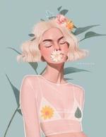 Фото Девушка с цветами на волосах и ромашкой во рту