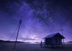Фото Девочка стоит у домика под ночным небом, by DjamilaKnopf