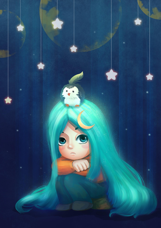 Фото Девочка с длинными голубыми волосами, с пингвинчиком на голове сидит под висящими над ней звездами, by Son Hoang
