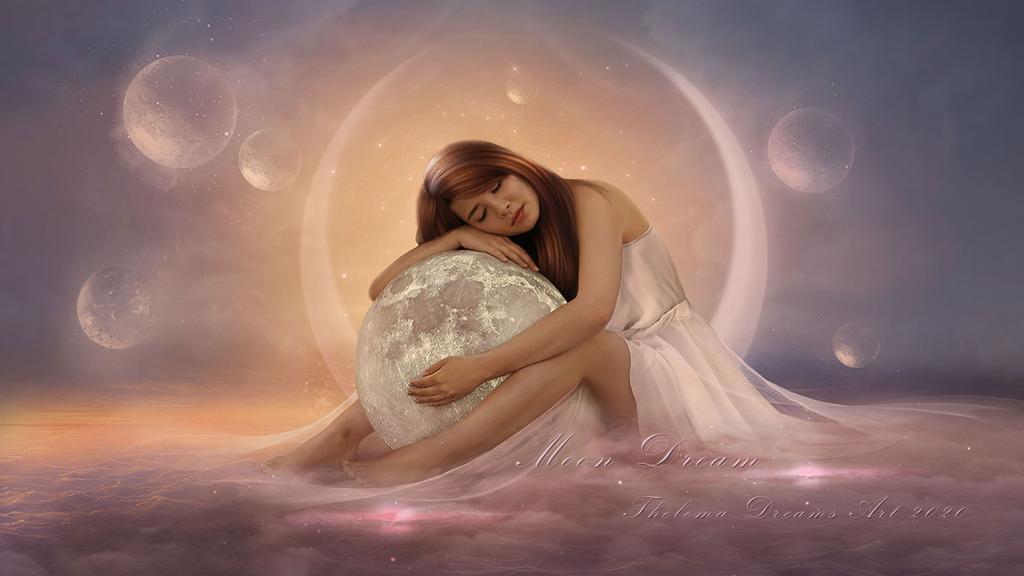 Фото Спящая девушка с луной, by ThelemaDreamsArt