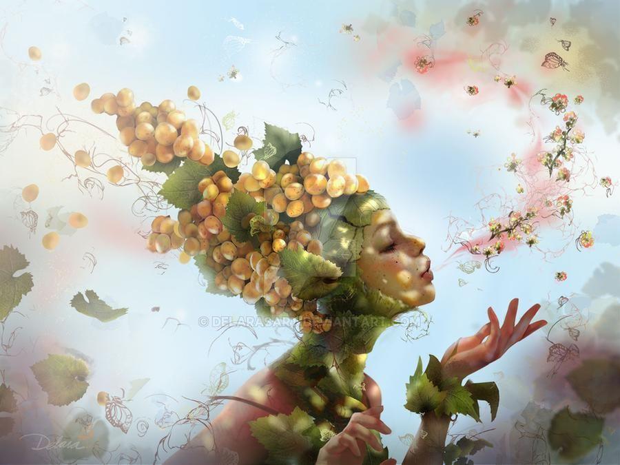 Фото Девушка с виноградом на голове перед весенней цветущей веткой, by DelarasArt