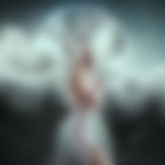 Фото Девушка - фея с цветами на голове стоит на фоне поной луны за облаками, by Kryseis-Art