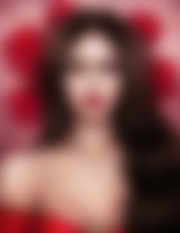 Фото Темноволосая девушка с алыми глазами на фоне алых роз, by luukassl