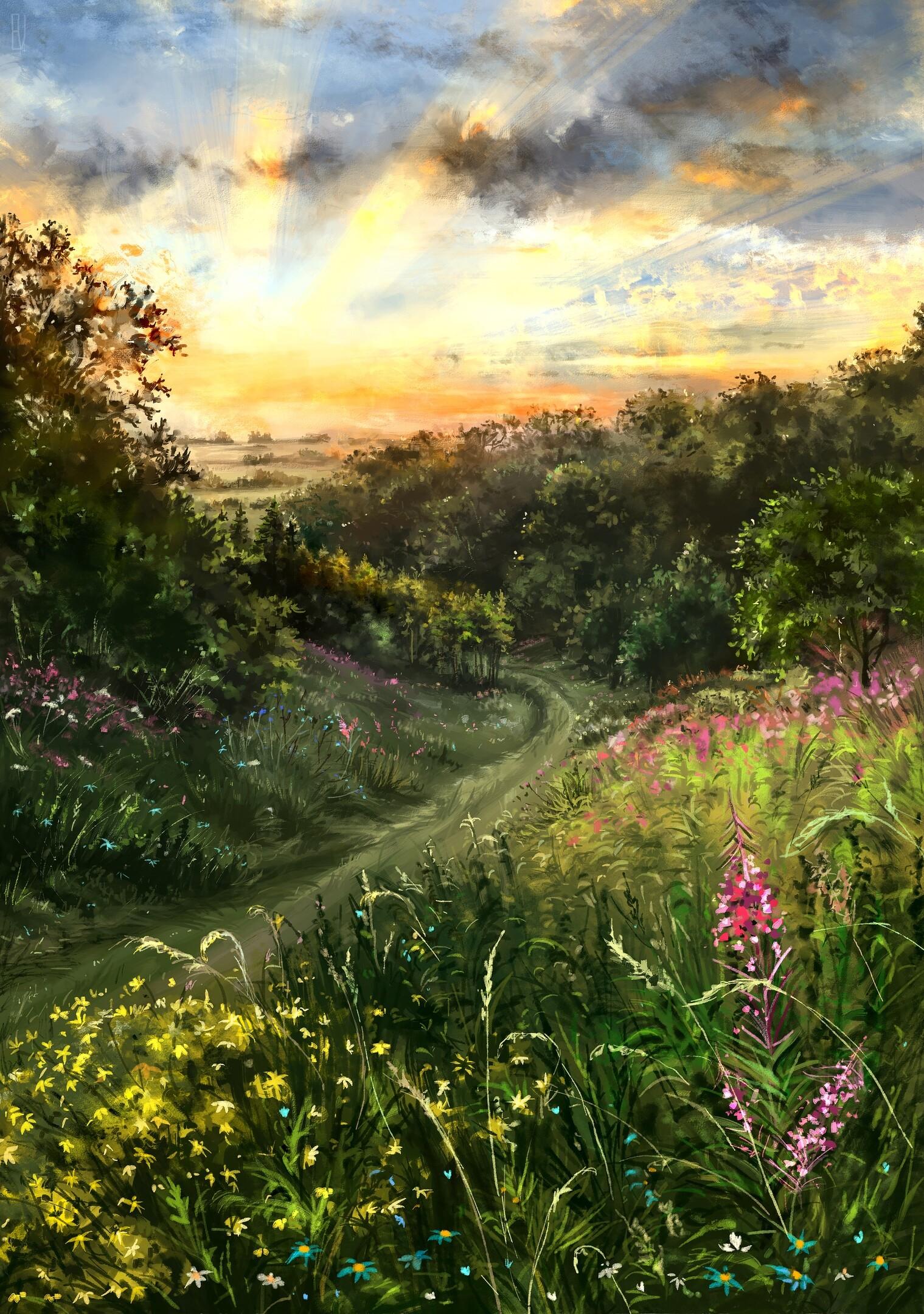 Фото Дорога к лесу через цветущие поля, автор Eugene Voznesensky