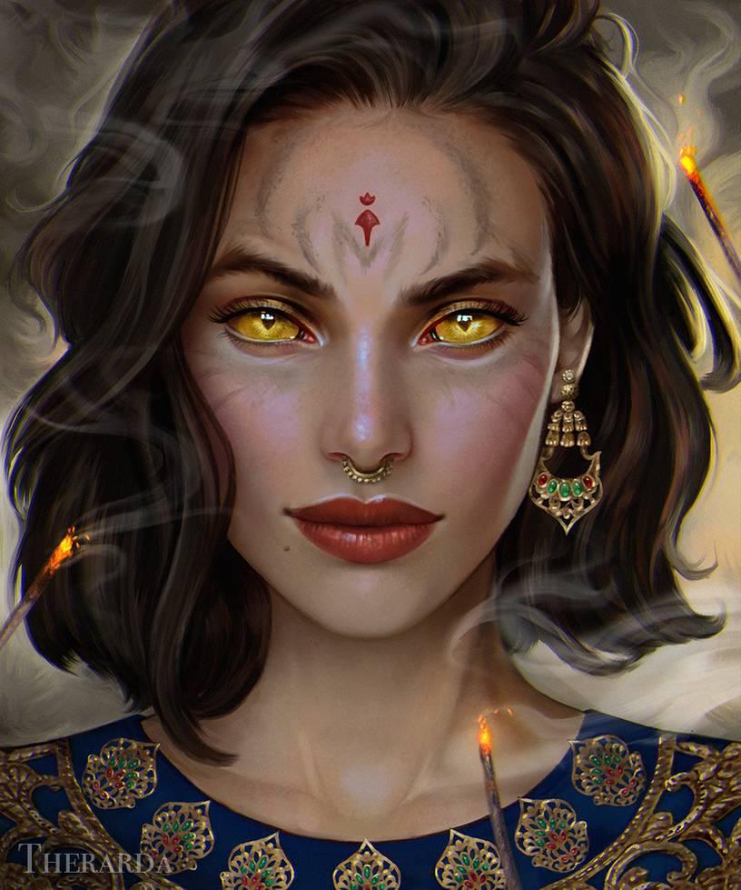 Фото Девушка с янтарными глазами, рядом зажженные зловонии, by Therarda