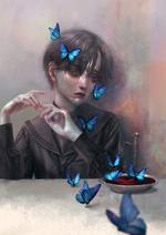 Фото Мальчик с бабочками на волосах сидит за столом, на котором стоит чашка с кровью, by sitry