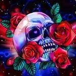 Фото Человеческий череп с красными розами, с сердечком в глазнице, by catdragon4