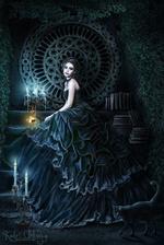 Фото Девушка - вампир сидит у горящих свечей и рядом с ней черная кошка, by Iardacil