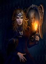Фото Ведьма с вороном и горящей свечой стоит у зеркала, автор Павел Федурин