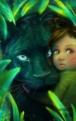Фото Зеленоглазый ребенок рядом с пантерой, by vandaJ95