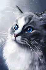 Фото Серая голубоглазая кошка, by ChloeCarterArts