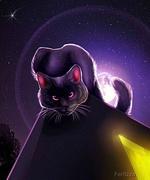 Фото Кот с сиреневыми глазами на фоне ночного неба и полной луны, by Fer0zza