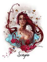 Фото Знак зодиака Скорпион, девушка с цветами в окружении бабочек, by DelarasArt