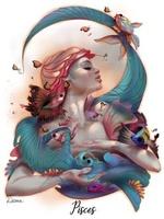 Фото Водолей - Знак Зодиака, девушка с бабочками и рыбками, by DelarasArt