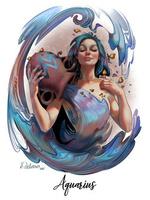 Фото Водолей - Знак Зодиака, девушка с кувшином с водой, by DelarasArt