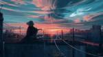 Фото Девушка сидит на крыше дома, встречая закат над городом, by Aenami
