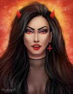 Фото Темноволосая девушка с красными рожками и сережкой, by luukassl
