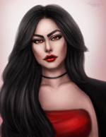 Фото Темноволосая девушка с алыми глазами, by luukassl